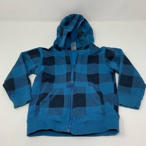 George Brand Blue Plaid Check Hooded Sweater 24mth